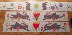 3 randen in de maak van de Down the Rabbit Hole quilt (Sarah Fielke)