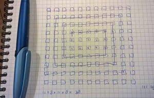 Getekend schema met 111 blokken om af te strepen