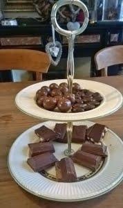 schaal met chocolaatjes