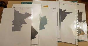 Stoffen gesorteerd in mapjes - Foundation piecing