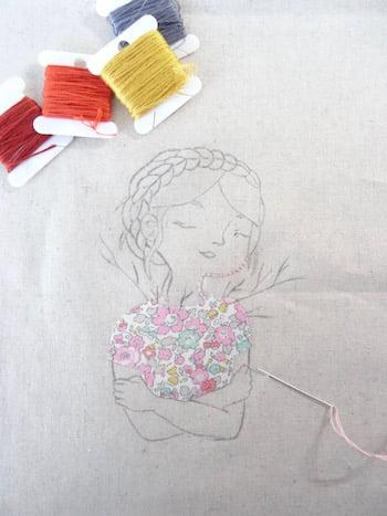 schets portret op Essex Linen