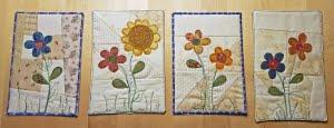 4 Kaarten gemaakt van stof met bloemen
