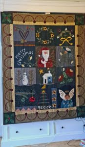 kerst quilt - Merry Christmas Heart in Hand