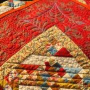 Quilt-closeup van veren